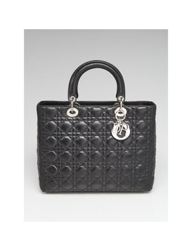 Black Quilted Cannage Lambskin Leather Large Lady Dior Bag by Christian Dior