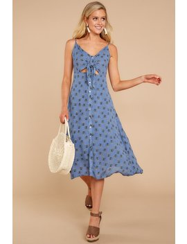 Away For The Summer Blue Print Dress by Illa Illa