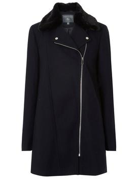 **Tall Navy Biker Coat by Dorothy Perkins