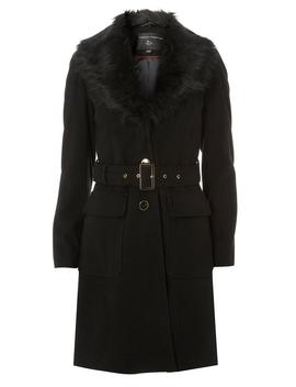 Black Faux Fur Collar Coat by Dorothy Perkins