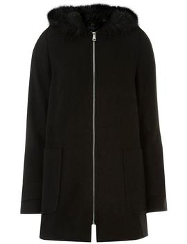 **Tall Black Faux Fur Hooded Duffle Coat by Dorothy Perkins