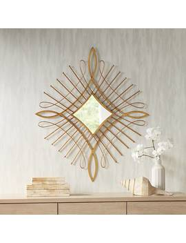 "Mailli Gold Wire 31 1/2"" X 36 1/2"" Diamond Wall Mirror by Lamps Plus"