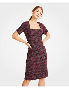 Tweed Square Neck Sheath Dress by Ann Taylor