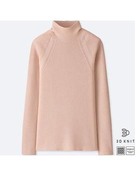 Damen U Gerippter 3 D Pullover Aus Extra Feiner Merinowolle (Stehkragen) by Uniqlo