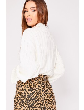 Lene Ivory Chunky Knit High Neck Jumper by In The Style