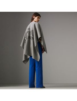 Embroidered Skyline Cashmere Poncho by Burberry