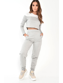 Grey And White Contrast Panel Tracksuit   Soraya by Rebellious Fashion