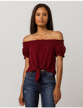 Sky And Sparrow Tie Front Womens Off The Shoulder Top by Sky And Sparrow