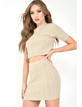Beige Cable Knit Crop Top And Skirt Co Ord   Galiana by Rebellious Fashion