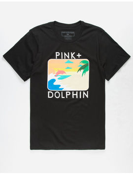 Pink Dolphin Palm Portrait Mens T Shirt by Pink Dolphin