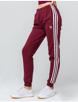 Adidas 3 Stripes Maroon Womens Jogger Pants by Adidas