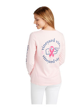 Womens Long Sleeve Breast Cancer Awareness Ribbon Whale Pocket Tee by Vineyard Vines