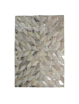 Natural Metallic Patchwork Rug by Dunelm
