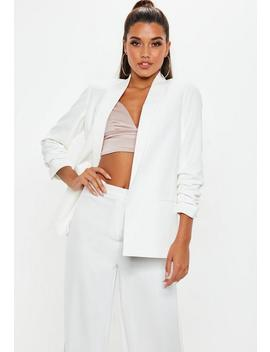 White Ruched Sleeve Blazer by Missguided