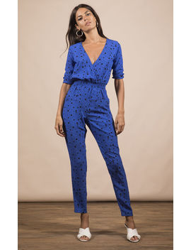 Zion Jumpsuit In Royal Blue Speckle Print by Dancing Leopard