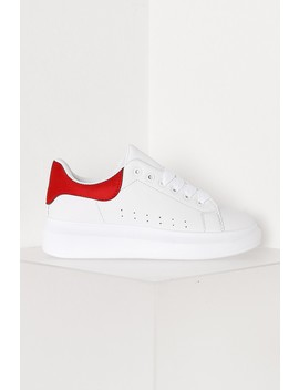 White And Red Chunky Platform Trainers by Lasula