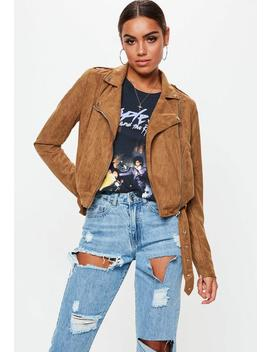 Tall Tan Cropped Suedette Biker Jacket by Missguided
