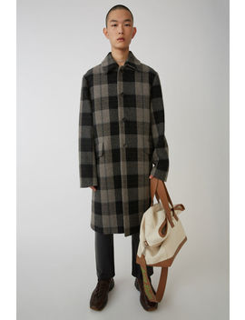 Heavy Checked Coat Grey/Green by Acne Studios