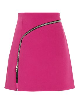 Curved Zip Detail Pink Mini Skirt by Alexander Wang