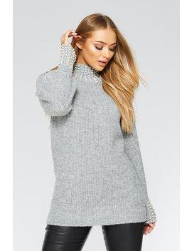Grey Knit Pearl Jumper by Quiz