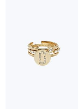 Double J Pave Ring Set by Marc Jacobs