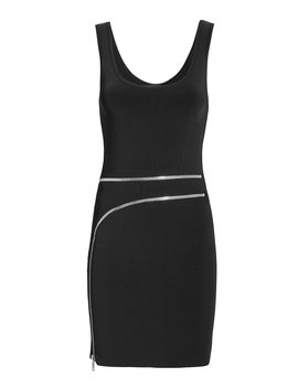 Curved Zip Detail Black Dress by Alexander Wang