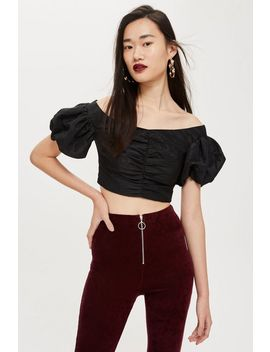 Tafetta Puff Sleeve Top by Topshop