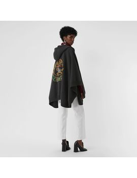 Crest Wool Blend Jacquard Hooded Cape by Burberry