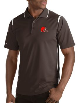 Antigua Men's Cleveland Browns Merit Brown Xtra Lite Polo by Antigua