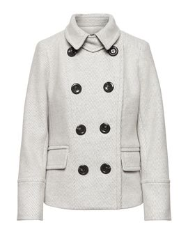 Petite Wool Blend Twill Peacoat by Banana Repbulic