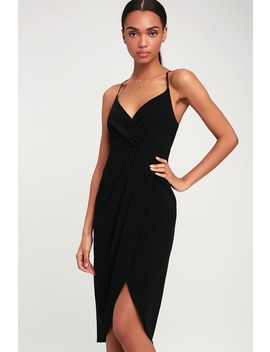 Special Guest Black Surplice Midi Dress by Lulus