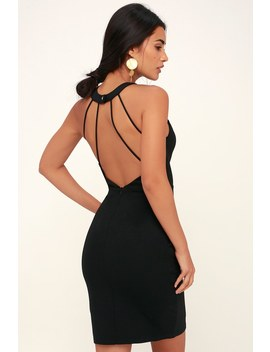 All Eyes On Me Black Backless Bodycon Dress by Lulus