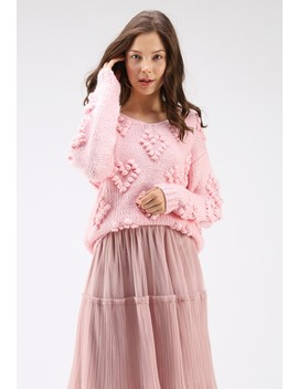 Knit Your Love V Neck Sweater In Pink by Chicwish