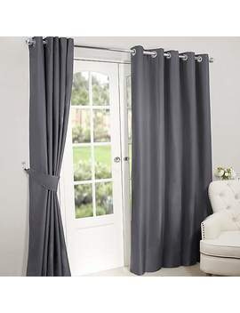 Nova Charcoal Thermal Blackout Eyelet Curtains by Dunelm