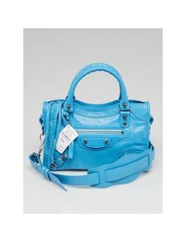 Bleu Azur Lambskin Leather Mini City Bag by Balenciaga