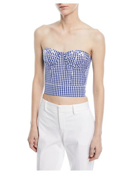Strapless Check Bustier Top by Ralph Lauren Collection