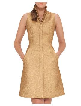 Sleeveless Coat Dress W/Back A Cutout, Gold by Akris