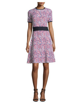 Short Sleeve Polka Dot Knit Dress by Carolina Herrera