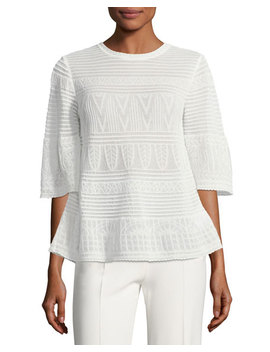 3/4 Sleeve Rib Stitched Top by M Missoni