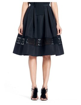 Full Silk Faille Cocktail Skirt With Lace Inset by Carolina Herrera