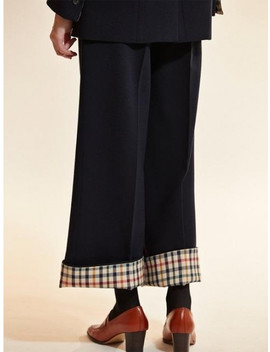 Check Coloration Super Wool Pants Navy by Akro