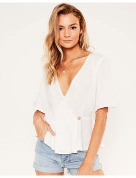 Linen Blend Wrap Top by Glassons