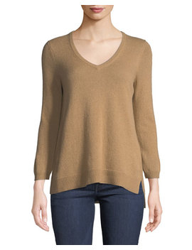 Cashmere V Neck Sweater, Camel by Neiman Marcus