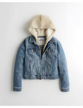 Vintage Stretch Boyfriend Hooded Denim Jacket by Hollister