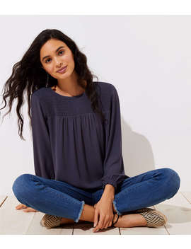 Smocked Yoke Blouse by Loft