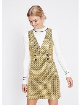 Yellow Jacquard Pinny Dress by Miss Selfridge