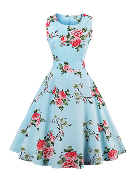 Random Florals Bow Tie Back Circle Dress by Romwe