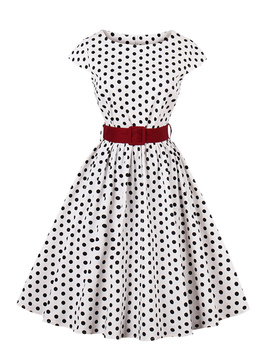 Spot Circle Dress With Belt by Romwe