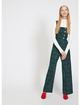 Green Check Button Jumpsuit by Miss Selfridge