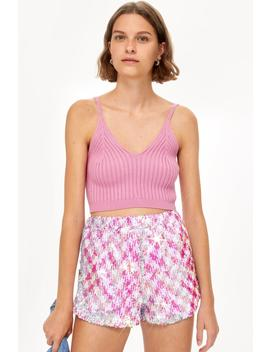 Pink Sequin Shorts by Topshop